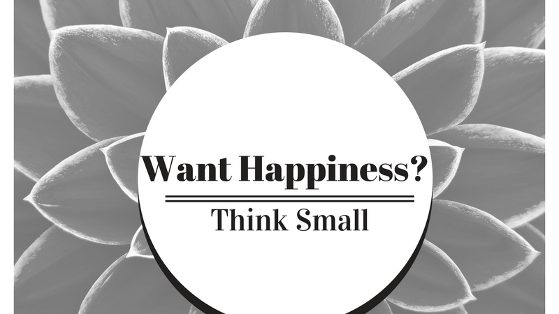 Happiness = small thoughts and actions